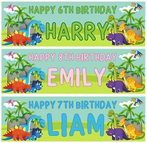 2x Personalised Birthday Banners all Occasions Children Dinosaur Kids Party