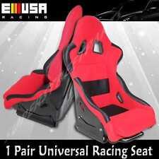 2PCS Universal Racing Seats Fabric RED/BLACK Civic For Nissan Honda BMW