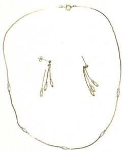 """Gold Plated Earring Set 18"""" Necklace Faux Pearl"""