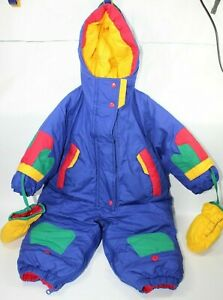 Brambilla Snow Suit Down Insulated Jacket Zip & Snap Mittens 18 M Blue Green