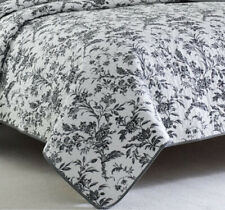 Laura Ashley Amberley Twin Reversible Quilt Set in Black