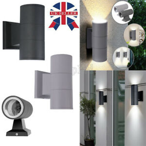 2x Black Stainless Steel Up Down Wall Light GU10 IP44 Double Outdoor Indoor LED@