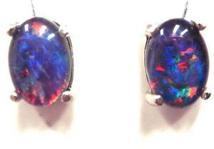 Australian Opal Natural Black Triplet Opal Earring Birthday present Girlfriend