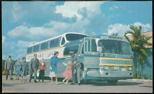 Greyhound Super Scenicruister Passenger Bus Folks Getting On Vintage Postcard