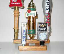 BEER TAP HANDLE DISPLAY, SOLID OAK, HOLDS 5, BEST PRICE