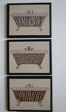 Bathroom Animal Print Tubs wall decor plaques bath pictures leopard tiger cats
