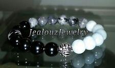 Sterling Silver Dragon Aquamarine Labradorite Gemstone Yoga Stretch Bracelet