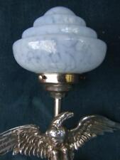 ART DECO ORIGINAL1930 CHROME EAGLE TABLE LAMP W BLUE GLASS SHADE