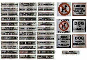 Metallic Silver Sticker Visitors House Dog Beware Pet Warning Signs Messages UK