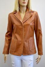 VAKKO New York Women's 100% Leather Light Brown white stitching Jacket Size M
