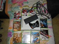 Xbox 360 arcade + black wireless controller + 9 games