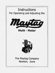 Maytag Vertical Multi Motor Operating Instructions