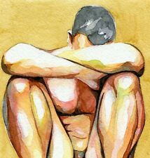 """PRINT of Original Art Work Watercolor Painting Gay Male Nude """"Thoughtful"""""""