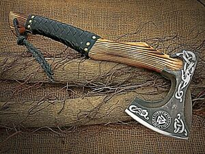 Custom Hand Forged Carbon Steel Viking Axe with Leather Sheath.