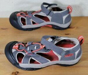 Keen Seacamp II CNX Gray/Black/Orange Waterproof Sport Sandals Youth Size 2