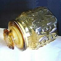 Imperial Glass Honey Amber Yellow Canister Atterbury Scroll Canister Jar FREE SH