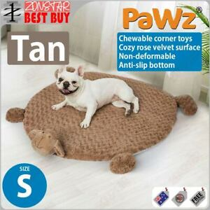 PaWz Pet Calming Bed Cat Dog Squeaky Toys Cushion Puppy Kennel Mat (S) (Tan)