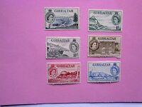 GIBRALTAR: 1953 Queen Elizabeth II 6 defins to 4d M/mint btwnSg145/151