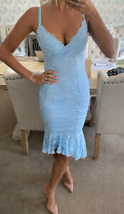 Lipsy Baby Blue Lace Scollop dress size 10 new with tags