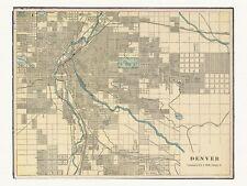 Old Vintage Decorative Map of Denver Cram ca. 1901