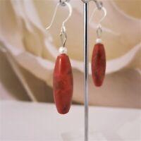 Ohrringe Ohrhänger aus Schaumkorallen 10x30mm Tropfen Rot 925er Silber TOP