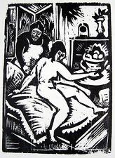 Bernhard Klein: Frau und Mädchenakt Beim Aufstehen Orig.Holzschnitt 1919