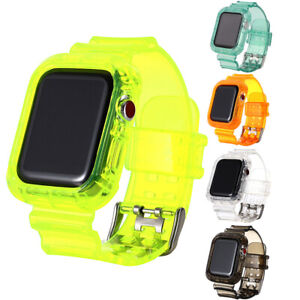 TPU Clear Silicone Watch Band Wrist Strap For Apple Watch Series 6/5/4/3/2/1/SE