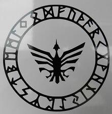 Odins Rune protección círculo Dioses Mitos Magia stickers/car/window / calcomanía 5373 Bk