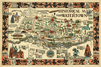 Historical map of Watertown, MA; 1630-1930; Antique Replica