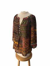 Figueroa & Flower Peasant Top Shirt Blouse Boho Bohemian Paisley L Large