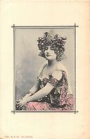 POSTCARD   GLAMOUR  ( FRENCH )  ART  NOUVEAU  Girl in  the  Pink  Dress