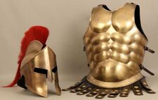 300 MOVIE HELMET SPARTAN WITH RED PLUME WITH MUSCLE JACKET IN BRASS ANTIQUE GIFT