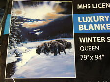 BUFFALO SNOW WINTER SPIRIT FOREST QUEEN SIZE BLANKET BEDSPREAD
