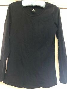 Womans Organic Cotton Size S Black Long Sleeve Scoop Neck Top