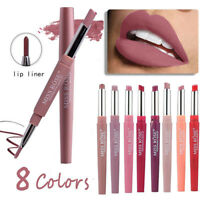 Long Lasting Makeup Double-end Waterproof Pencil Lipstick Pen Matte Lip Liner