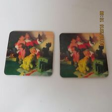 Coca Cola COKE Drink Coasters Lot 2 Santa Cork Back Taiwan New Condition