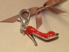 LOBSTER CLIP 3D SILVER & RED HIGH HEEL SHOE CHARM- FITS LINK CARRIER BRACELET