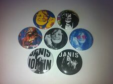 7 Janis Joplin button badges 25mm Cry Baby Maybe Mercades Benz 27 Club Hendrix
