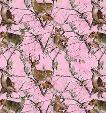 Realtree Pink Camouflage Deer Hunting Buck Doe Fleece Fabric Print A505.08