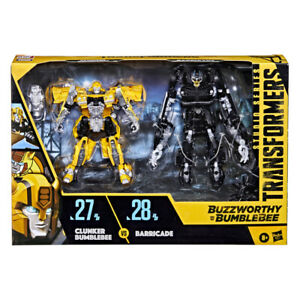Transformers SS Buzzworthy Deluxe 27BB Clunker Bumblebee vs. 28BB Barricade