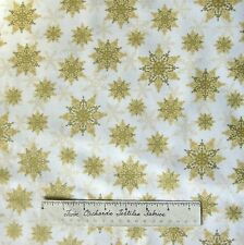Christmas Fabric - Holiday Magic Gold Snowflake Toss on Cream - Windham YARD