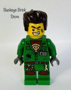 NEW Lego Hidden Side Douglas Elton Green Coveralls & Dark Brown Hair