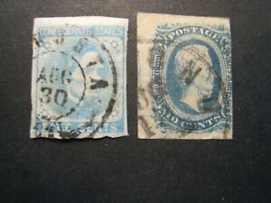 1860's Confederate states CSA stamp pair used w/postmarks