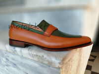 Handmade Men's Tan Green Leather Shoes, Men's dress Shoes Formal shoes two tone