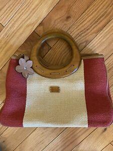 New Relic Handbag Wooden Handles Shoulder Strap Ivory Rust Woven Pockets Snap