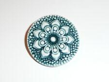"Pretty Navy Blue Art Stone Flower Floral Shank Button  1-3/16"" Navy Blue Button"