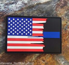 Tattered American Flag Thin Blue Line PVC Patch, Law Enforcement