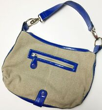 Ted Baker Heavy Canvas Hobo Bag Blue Patent Leather Trim Convertible Crossbody