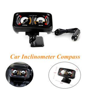 1x 12V Car Two-barreled Backlight Balance Level Slope Meter Inclinometer Compass