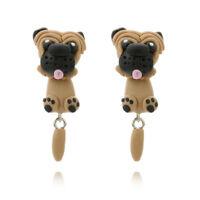 Cartoon Handmade Polymer Clay Pug Dog Stud Earring Fashion Women Jewelry